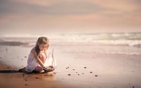 Wallpaper sea, shore, girl, boat
