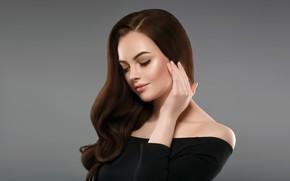 Picture girl, background, model, hand, makeup, gesture, woman, hair, portrait, Ryabusjkina Irina