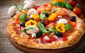 Picture mushrooms, pepper, vegetables, pizza, tomatoes, olives