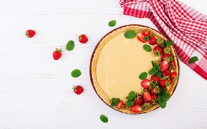 Picture berries, table, cream, strawberry, pie, wood, Timolina