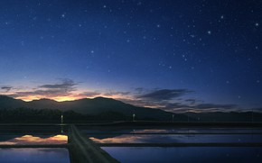 Picture sunset, nature, rice fields, star sky