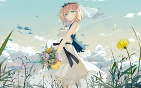 Picture girl, flowers, bouquet, girl