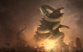 Picture Figure, The city, Dragon, Fire, Battle, Destruction, Dragon, Godzilla, Art, Godzilla, Fantasy, by Franklin Chan, …