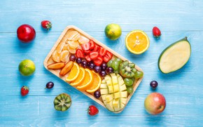 Picture berries, Apple, kiwi, strawberry, grapes, fruit, mango, Mandarin, cuts