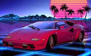Picture Auto, Music, Lamborghini, Retro, Machine, Style, Background, 80s, Style, Supercar, Neon, Illustration, Lamborghini Countach, Sports …