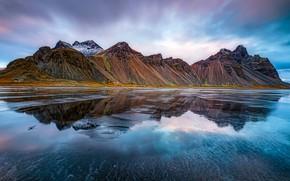 Picture sea, mountains, reflection, Iceland, Iceland, Stokksnes, Have stoknes, Mountain Westerhorn, Fjord Hornafjordur, Vestrahorn Mountain, Hornafjörður
