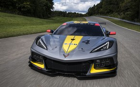 Picture machine, the sky, trees, Chevrolet, sports car, track, C8.R