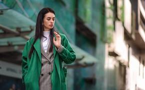 Picture girl, pose, brown hair, coat, bokeh, Dmitry Medved