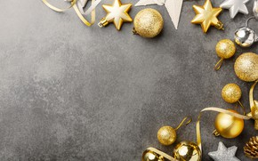 Picture decoration, gold, balls, New Year, Christmas, golden, Christmas, balls, background, New Year, decoration, Merry