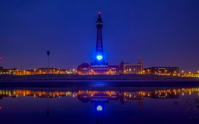 Picture night, lights, England, tower, Lancashire, Blkw