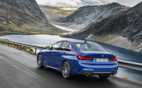 Picture road, asphalt, water, mountains, markup, BMW, 3-series, M Sport, G20