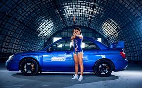 Picture look, Girls, Subaru, bow, beautiful girl, blue auto, angur