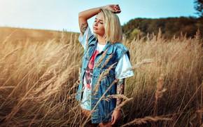 Picture girl, hair, tattoo, blonde, Kirill Bukrey, Leroy Cator