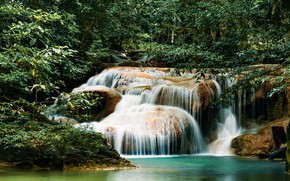 Picture forest, landscape, river, rocks, waterfall, summer, forest, tropical, river, landscape, beautiful, waterfall, tropical
