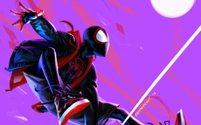 Picture night, fiction, the moon, cartoon, sneakers, web, art, jacket, costume, superhero, Spider-Man, Spider-man: universes, Spider-Man: …