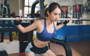 Picture girl, face, hair, figure, fitness, rod, the gym, squat