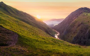 Picture the sun, mountains, river, the slopes, tops, England, height, morning, pond