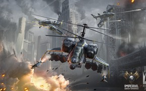 Picture the explosion, attack, destruction, Helicopters, Imperial - War of Tomorrow