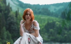 Picture summer, girl, nature, pose, dress, red, shoulders, Yuri Zakharov