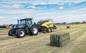 Picture field, the sky, work, tractor, cabin, wheel, agricultural machinery, New Holland, bales of hay, New …