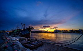 Picture the sky, sunset, network, the city, lights, river, home, the evening, pier, port, boat