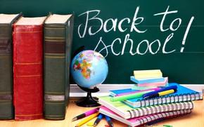 Picture books, pencils, handle, globe, notebooks, school tomorrow