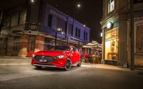Picture photo, Red, Mazda, Car, Hatchback, Mazda3, 2019, Skyactiv-G