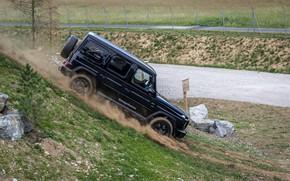 Picture black, Mercedes-Benz, SUV, polygon, 4x4, G-Class, V8, 2019