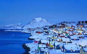 Picture winter, sea, snow, mountains, lights, home, Greenland, Nuuk