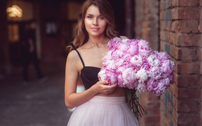 Picture look, girl, flowers, mood, bouquet, peonies, Natalia Magicka
