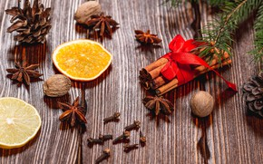 Picture photo, Board, New year, Orange, Food, Bumps, Cinnamon, Walnut