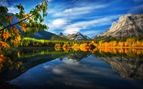 Picture autumn, leaves, landscape, mountains, branches, nature, lake, reflection, Canada, forest, Perry Hoag