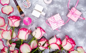 Picture flowers, roses, perfume, gifts, brush, boxes