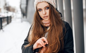Picture girl, brown hair, photo, photographer, blue eyes, model, brunette, scarf, portrait, hood, Sonny Bui