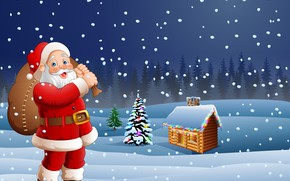 Picture photo, Winter, Snow, House, New year, Santa Claus, Vector graphics