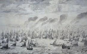 Picture picture, ink, canvas, 1657, Willem van de Velde I, Виллем ван де Велде Старший, Морской …