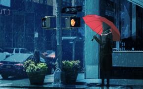 Picture girl, snow, the city, umbrella