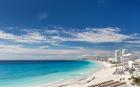 Picture sand, sea, beach, the sky, the sun, clouds, landscape, palm trees, coast, home, horizon, Mexico, …