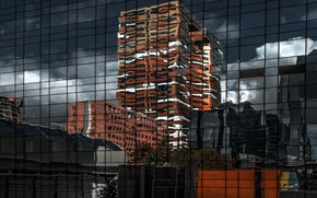 Picture glass, reflection, the city, the building, home