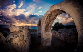 Picture sunset, stones, ruins