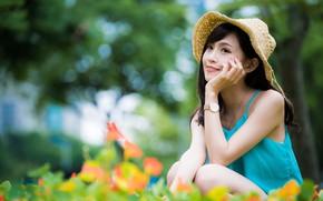Picture girl, hat, Asian, bokeh