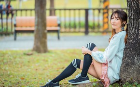 Picture girl, legs, Asian, sitting, bokeh, under the tree