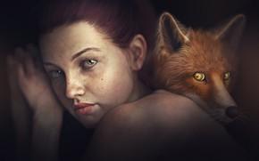 Picture look, girl, rendering, background, portrait, Fox, brown hair