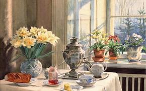 Picture flowers, table, kettle, window, vase, samovar, jam, baton, Olga Kulikovskaya-Romanova, pots