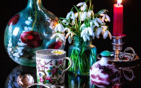 Picture flowers, style, reflection, candle, snowdrops, spoon, mug, still life, a bunch, bottle