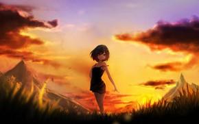 Picture sunset, art, girl