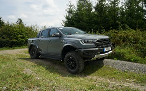 Picture road, field, grey, Ford, Raptor, pickup, Ranger, 2019
