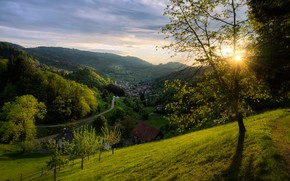 Picture forest, trees, sunset, mountains, spring, Germany, valley, village, panorama, Germany, Baden-Württemberg, Baden-Württemberg, Black Forest, The …