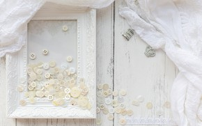 Picture white, frame, fabric, buttons