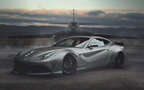 Picture Auto, The plane, Machine, Ferrari, Art, B-1, Supercar, Bomber, Rockwell B-1 Lancer, Sports car, The …